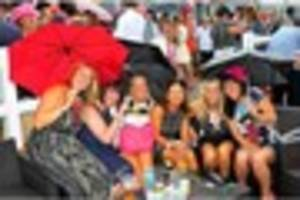 rain doesn't dampen smiles at market rasen racecourse  ladies'...